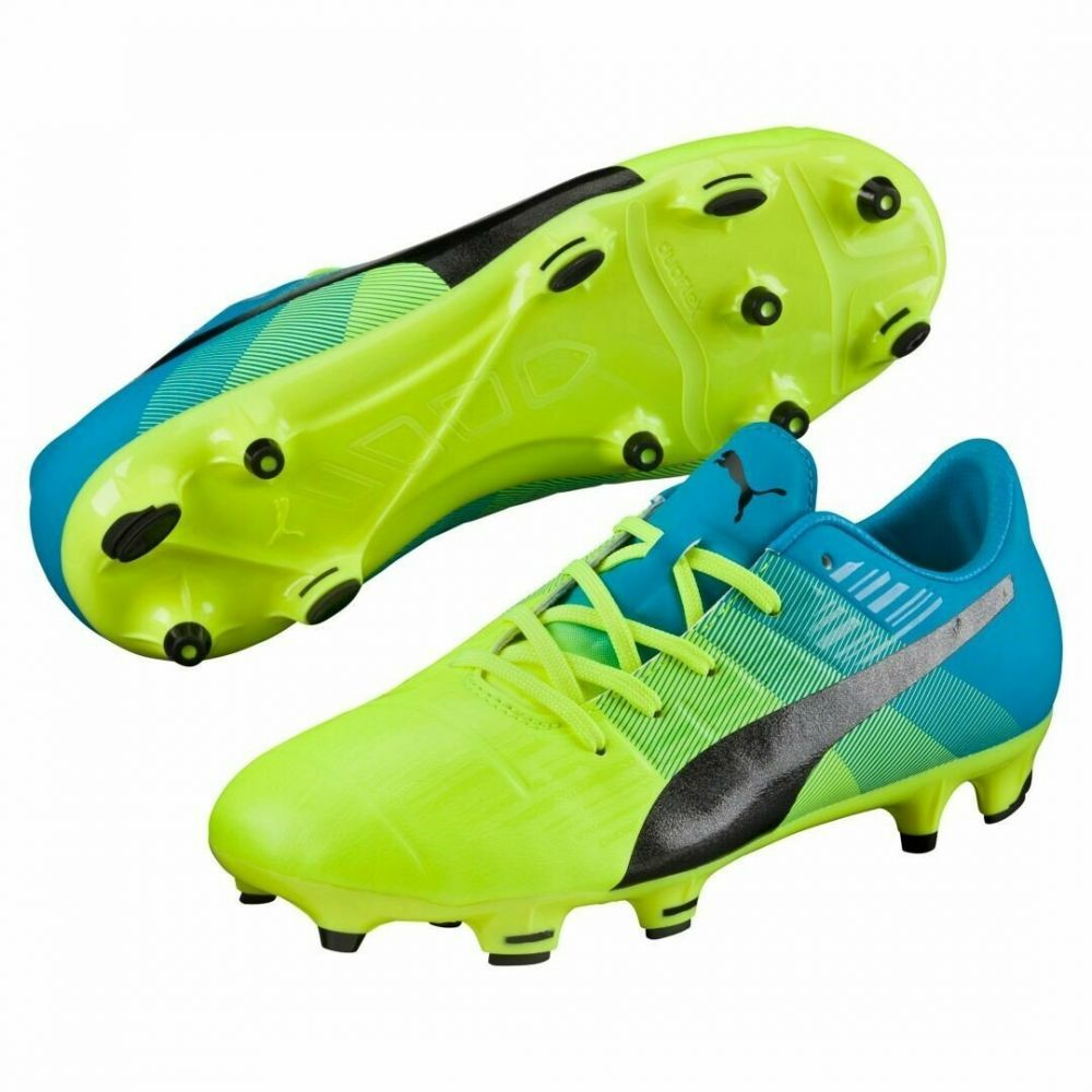 Puma evoPOWER 1.3 Youth FG Soccer Cleats (Safety Yellow/Black/Atomic Blue)
