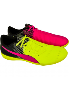 Puma evoPOWER 4.3 Tricks Youth IT Indoor Soccer Shoes (Pink Glo/Safety Yellow/Black)