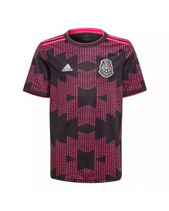 Adidas Mexico '20-'21 Home Youth Soccer Jersey (Black/Real Magenta)
