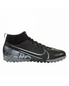 Nike Youth Superfly 7 Academy TF Turf Soccer Shoes (Black/Metallic Cool Grey/Cool Grey)