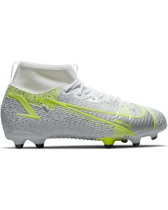 Nike Mercurial Superfly 8 Academy Youth MG Soccer Cleats (White/Metallic Silver/Volt/Black)