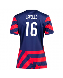 Nike USA Women's Away 4-Star 'LAVELLE 16' Soccer Jersey '21–'22 (Loyal Blue/Speed Red/White)
